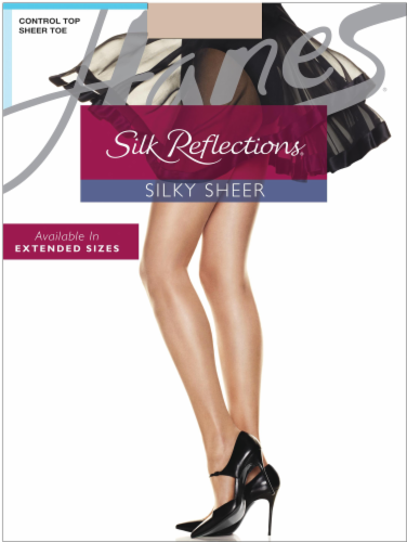 Hanes Women's Silk Reflections® Control Top Sandalfoot Pantyhose - Travel Buff Perspective: front