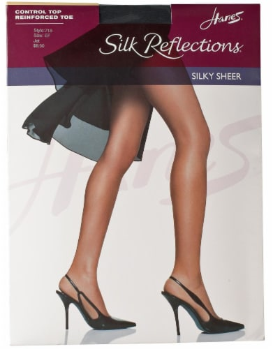 Hanes Women's Silk Reflections® Control Top Reinforced-Toe Pantyhose - JET Perspective: front