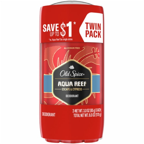 Old Spice Red Zone Collection Aqua Reef Deodorant Twin Pack Perspective: front