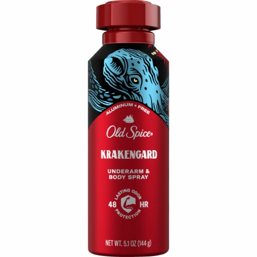 Old Spice Men Body Spray Aluminum Free Wild Collection Krakengard Perspective: front