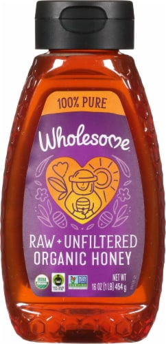 Wholesome Sweeteners Fair Trade Organic Raw Unfiltered Honey Perspective: front