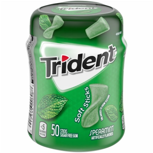 Trident Unwrapped Spearmint Sugar Free Gum Perspective: front