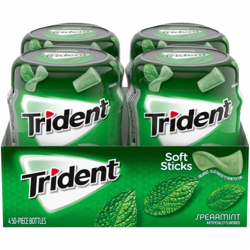 Trident Unwrapped Spearmint Sugar Free Gum 200 Count Perspective: front