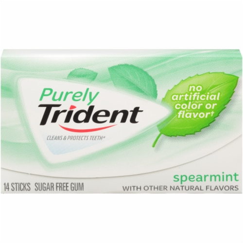 Purely Trident Spearmint Sugar Free Gum Perspective: front