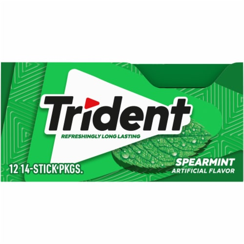 Trident Spearmint Sugar Free Gum 168 Count Perspective: front