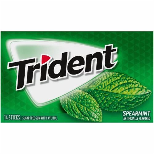 Trident Spearmint Sugar Free Gum Perspective: front