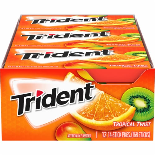 Trident Tropical Twist Sugar Free Gum (12 Pack) Perspective: front