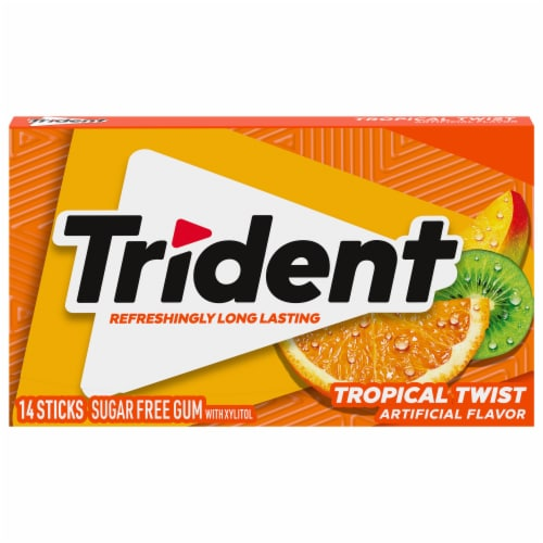 Trident Tropical Twist Sugar Free Gum Perspective: front