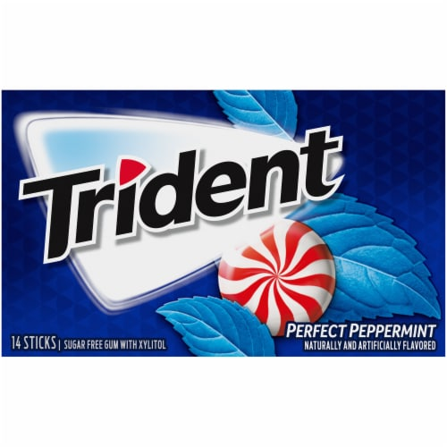 Trident Perfect Peppermint Sugar Free Gum Perspective: front