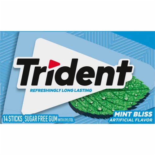 Trident Mint Bliss Sugar Free Gum 14 Count Perspective: front