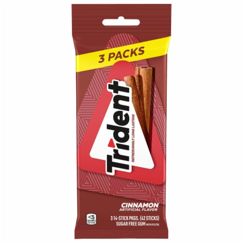 Trident Cinnamon Sugar Free Gum Perspective: front
