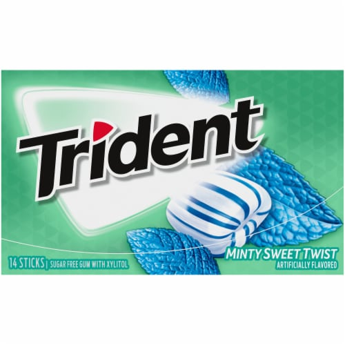 Trident Sugar Free Minty Sweet Twist Gum 14 Count Perspective: front