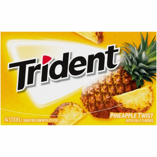 Trident Sugar Free Pineapple Twist Gum 14 Count Perspective: front