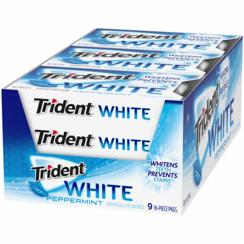 Trident White Peppermint Sugar Free Gum Perspective: front