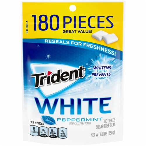 Trident White Peppermint Gum Perspective: front