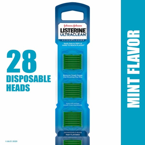Listerine Ultraclean Access Mint Flosser Disposable Heads 28 Count Perspective: front