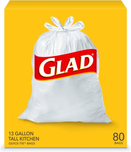 Glad Tall Quick-Tie Kitchen Trash Bags 80 Count Perspective: front