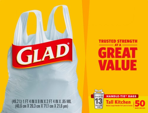 Glad Tall Handle-Tie 13 Gallon Kitchen Bags Perspective: front