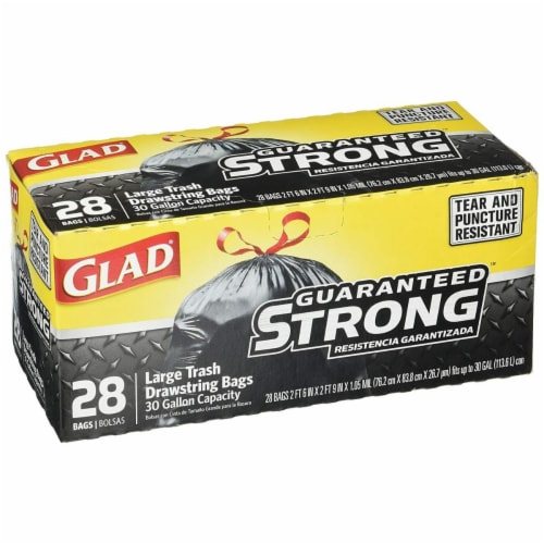 Clorox CLO78381 13 gal 0.95 Mil Glad Kitch Drawstring Tall Kitchen Trash Bags - 150 Count Perspective: front
