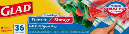Glad 2-in-1 Zipper Gallon Clear Bags Perspective: front