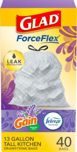 Glad Febreze Freshness Mediterranean Lavender 13 Gallon Tall Kitchen Drawstring Bags Perspective: front