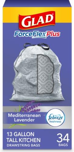 Glad ForceFlex Plus Mediterranean Lavender Scent Tall 13 Gallon Kitchen Drawstring Trash Bags Perspective: front