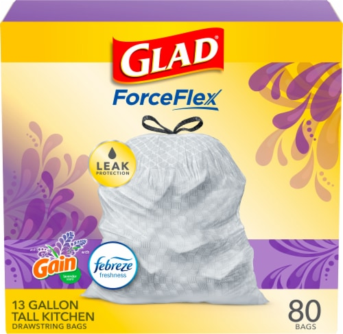 Glad Lavender Scent Tall Kitchen 13 Gallon Trash Bags Perspective: front