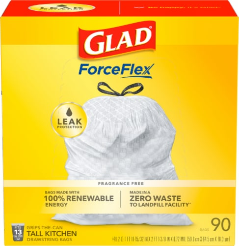 Glad Tall Kitchen Drawstring Reinforced Strength 13 Gallon Trash Bags Perspective: front