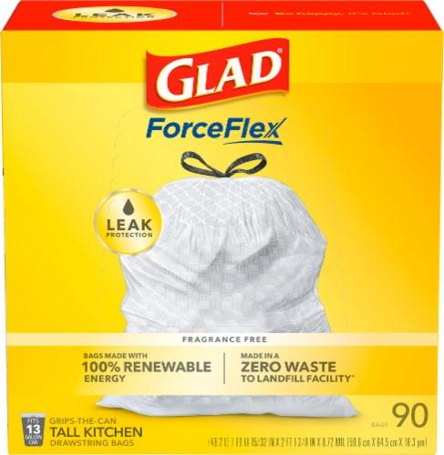 Glad® Guaranteed Strong™ Tall 13 Gallon Kitchen Drawstring Trash Bags Perspective: front