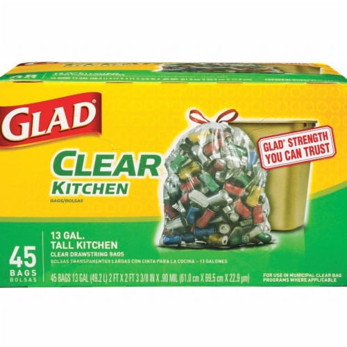 Glad Recycling Tall Kitchen Drawstring Clear Bags Perspective: front