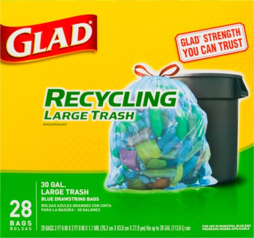 Glad Blue Recycling Large Trash Bags Perspective: front