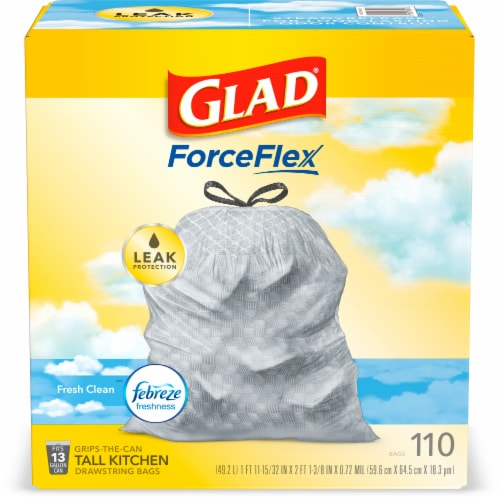 Glad Febreze Freshness Fresh Clean Tall Kitchen 13 Gallon Drawstring Trash Bags Perspective: front