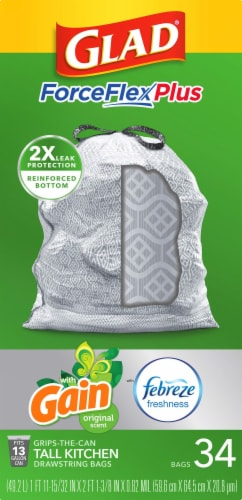 Glad ForceFlex Plus Gain Original Scent with Febreze Freshness Tall 13 Gallon Kitchen Trash Bags Perspective: front
