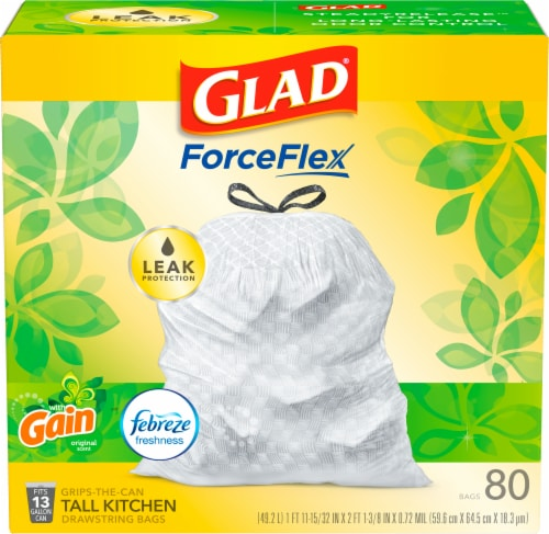 Glad OdorShield Tall Kitchen Drawstring Trash Bags Gain Original with Febreze Freshness Perspective: front
