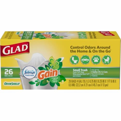 The Clorox 252542 4 gal Odor Shield Gain Scent Kitchen Bag - 26 Count Perspective: front