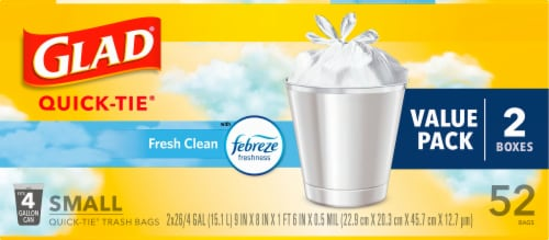 Glad Febreze Fresh Clean Small Trash Quick Tie Bags Value Pack Perspective: front