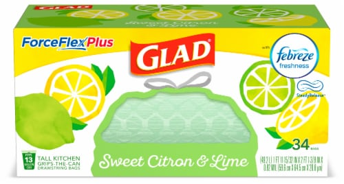 Glad ForceFlex Plus Sweet Citron & Lime Scent 13 Gallon Trash Bags Perspective: front