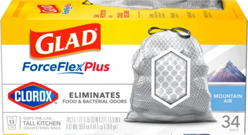 Glad ForceFlexPlus Mountain Air 13 Gallon Tall Kitchen Trash Bags Perspective: front