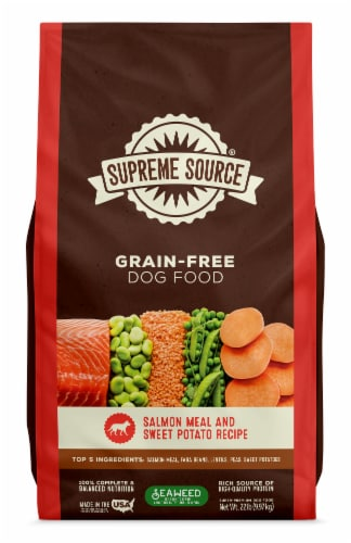 Supreme Source Grain-Free Salmon Meal and Sweet Potato Recipe Dry Dog Food Perspective: front