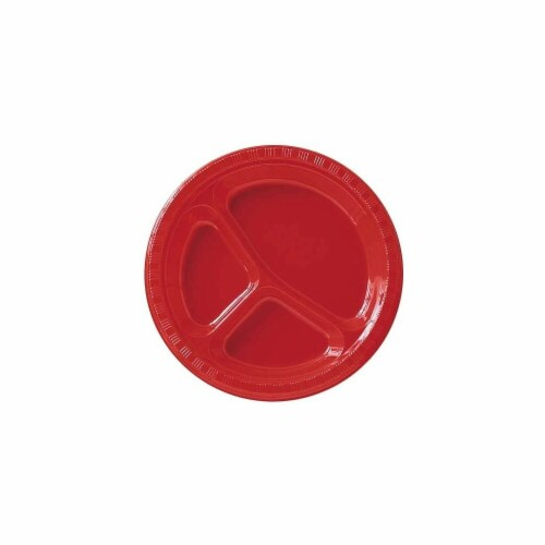 """Red Apple 10 1/4"""" Plastic Divided Dinner Plates - 20 ct. Perspective: front"""