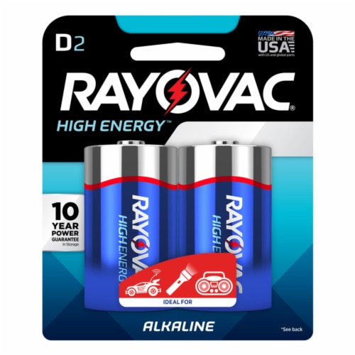 Rayovac D Alkaline Batteries 2 pk Carded - Case Of: 12; Each Pack Qty: 2; Total Items Qty: 24 Perspective: front