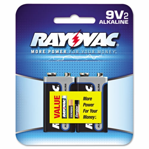 Rayovac High Energy 9-Volt Alkaline Batteries 2 pk Carded - Case Of: 12; Each Pack Qty: 2; Perspective: front