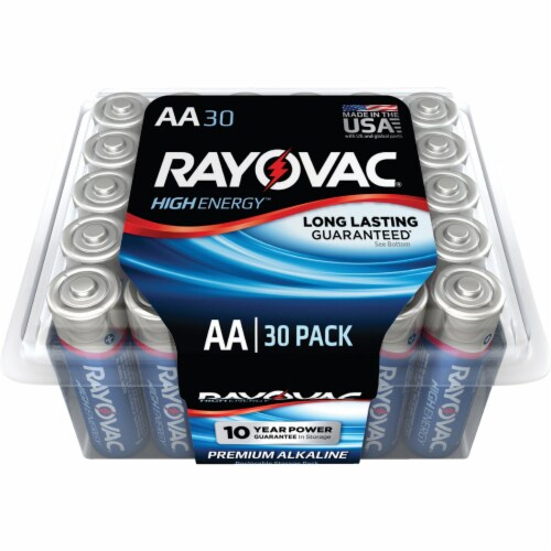 Rayovac High Energy AA Alkaline Battery (30-Pack) 815-30PPTK Perspective: front