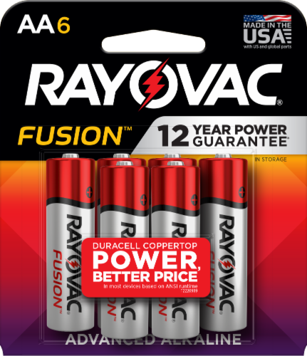 Rayovac® Fusion AA Alkaline Batteries - 6 Pack Perspective: front