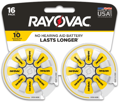 Rayovac® Size 10 Hearing Aid Batteries Perspective: front