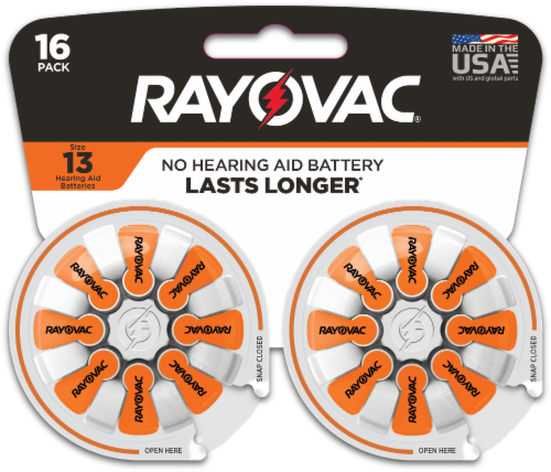 Rayovac® Size 13 Hearing Aid Batteries Perspective: front