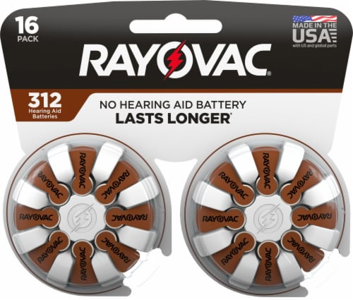 Rayovac® Size 312 Hearing Aid Batteries Perspective: front