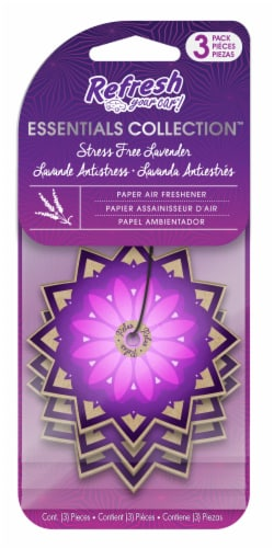 Refresh Your Car!® Essentials Collection Stress Free Lavender Paper Air Fresheners Perspective: front