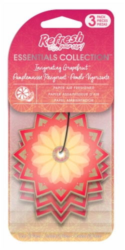Refresh Your Car!® Essentials Collection Invigorating Grapefruit Paper Air Fresheners Perspective: front