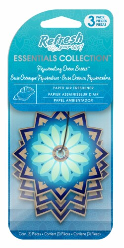 Refresh Your Car!® Essentials Collection Rejuvenating Ocean Breeze Paper Air Fresheners Perspective: front